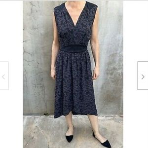 Rebecca Taylor Black Gray Print 100% Silk Dress 6
